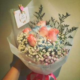 Hydrangea and Roses Bouquet-Preorders only