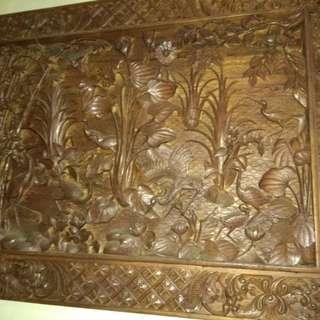 Lukisan Antik Kayu Jati Asli 3 Dimensi..