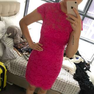 New Forever new lace dress in hot pink