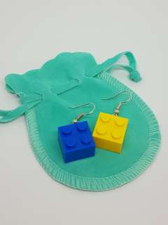 Blue and Yellow Lego Earrings