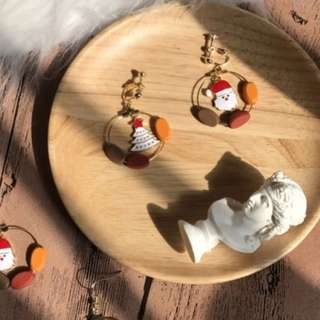 Christmas snowman earrings (no piercing needed)