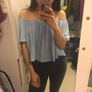 Bershka baby blue off shoulder top