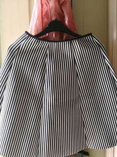 black and white pin striped skirt