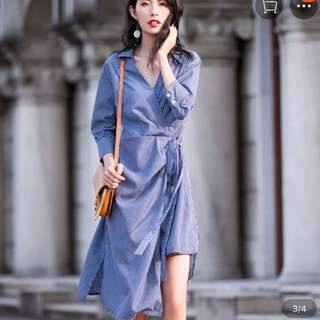 Formal striped wrapped shirt dress