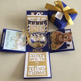 Explosion box with shaker & 4 personalised photos in navy , white & gold