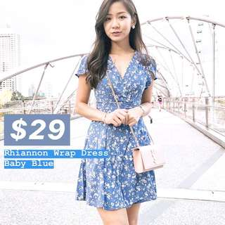 INSTOCKS Rhiannon Wrap Dress - Baby Blue
