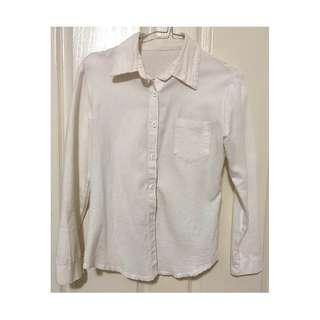 Women's Cream Milky White Non-Seethrough Button Long Sleeve Blouse