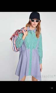 Europe and the United States striped striped shirt dress