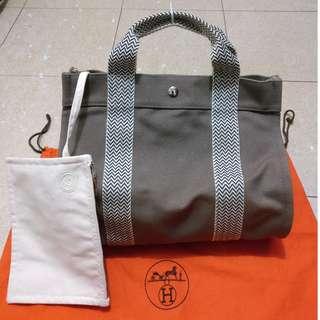 100%real Hermes canvas bag 送 塵袋
