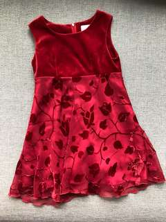 Velvet Red Little Girls Dress - size 6