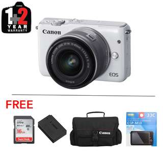 Canon EOS M10 with 14-45mm Kit Lens (Free 16Gb Card + Bag + Extra Battery +Optical Screen Protector)