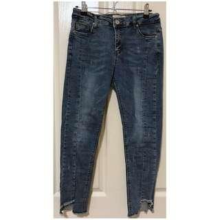 Women's High Quality Unique Ripped Denim Blue Ankle 3/4 Jeans w/ Pockets [AU10]