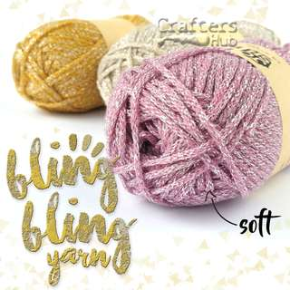 Soft Metallic Yarn for crochet knitting amigurumi scarf DIY craft handmade charm earring decor