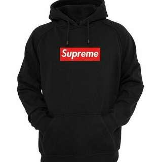 Jaket hoodie supreme logo box red
