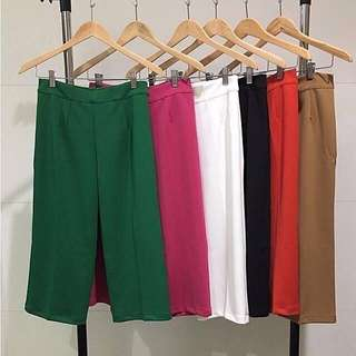 Kulot putih wedges hitam plisket panjang pendek celana highwaist scuba import culotte