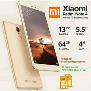 Redmi Note 4, 4G RAM 64G ROM, Gold Global Version. Full Set. Xiaomi / Mi