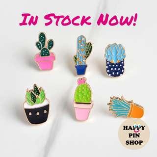 [IN STOCK] Cactus, Succulent, Aloe Vera, Plant Enamel Pins