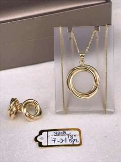 Saudi Gold Earrings and Necklaces 18K