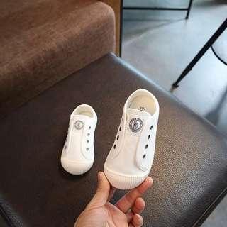 韓國兒童洗水帆布平底布鞋軟底防滑學行鞋(白色)