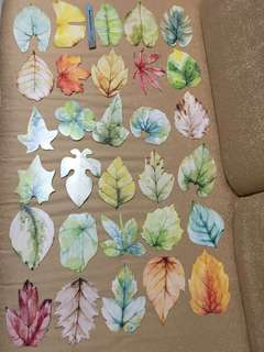Autumn leaf bookmarks / card paper / note message botanical forest