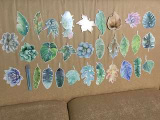 Leaf and succulent bookmarks / Botanical forest card paper / note message
