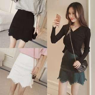 Korean ulzzang black denim skirt