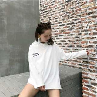(PO) Korean Ulzzang White Oversized Boyfriend Hoodie