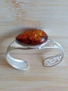 天然琥珀純銀手鈪22 gram