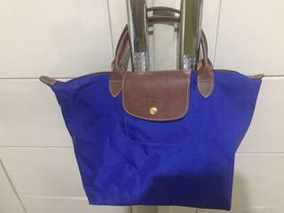 Long Champ Short handle La Pliage Blue Preloved Medium