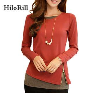 HiloRill Casual Long Sleeve Blouse Women 2017 Spring Autumn Side Zipper Women Shirt Office Ladies Tops Tunic Blusas Femininas