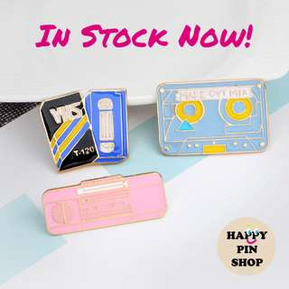 Retro Cassette Tape, VHS and Radio Enamel Pins