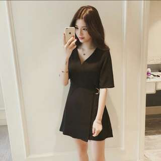 (PO) Korean Ulzzang V-Neck Overlap Stylish Dress