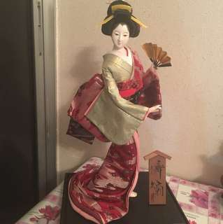 High Quality Antique Japanese Geisha Doll in Showcase