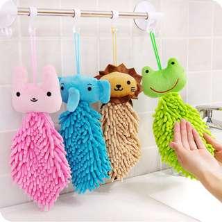 Hand Towel Microfiber Chenille Square Animal | Lap Tangan