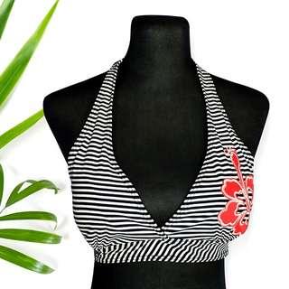 Stripes Floral Patch Bikini Top