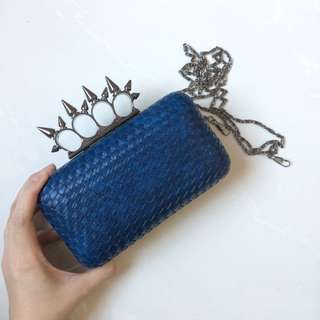 Navy blue dinner clutch