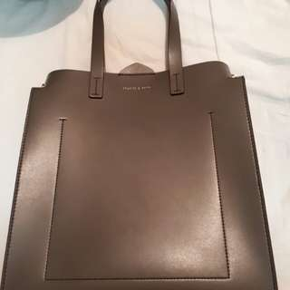 Charles and Keith Structured Tote bag in olive green