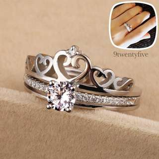 SRW-005 • S925 Silver Tiara crown 2 in 1 Ring • FREE SIZE ADJUSTABLE •