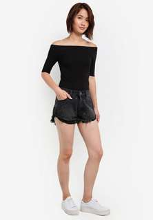 Cotton on mid rise saturday shorts with embroidery