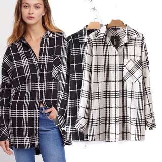Loose fitting oversized American style buckle plaid loose long shirt