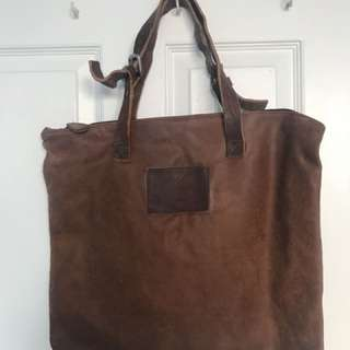 Common Project leather zipper tote