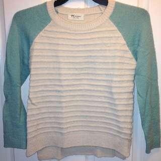 Women's Cream & Mint Teal Wool Knit Jumper [AU8]
