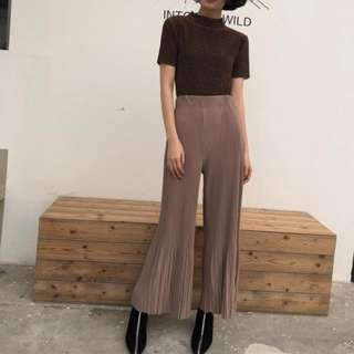 INSTOCKS pleated high waisted flare wide leg pants - taupe brown
