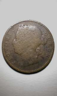 Coin 1899 1/4 cents Straits Settlement