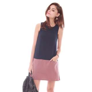 ACW Colourblocking Pocket Shift Dress