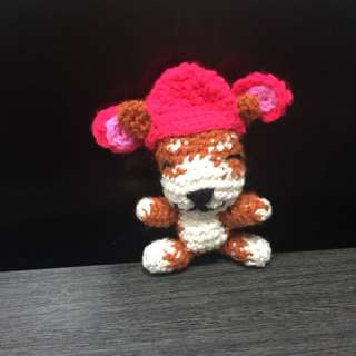 Crochet Corgi wearing Hat