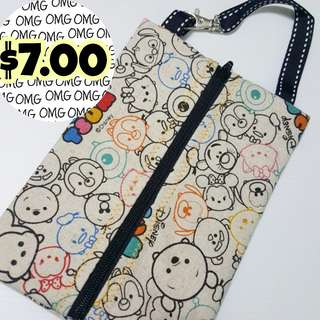 📮Free NORMAL postage 💯Brand New Tsum Tsum Travel Tissue Pouch with Plastic Cover