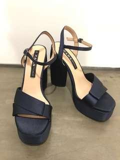 Zara Midnight Blue Platform Heels