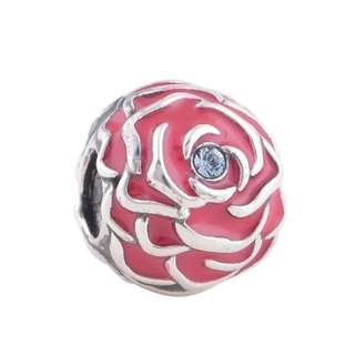 Code MS75 - Rose Bead 100% 925 Sterling Silver Charm, Chain Is Not Included, Compatible With Pandora