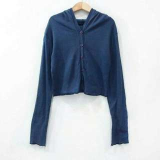 Hoodie Baju Remaja Cardigan Navy Blue Outer Outerwear